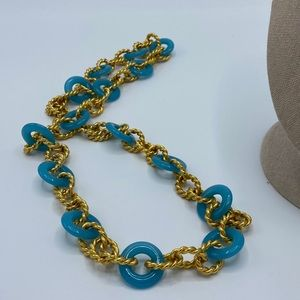 Braided Gold Teal Chain Link Necklace